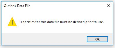 Undefined Outlook Data File Properties