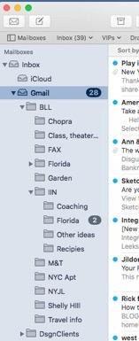 gmail inbox subfolders