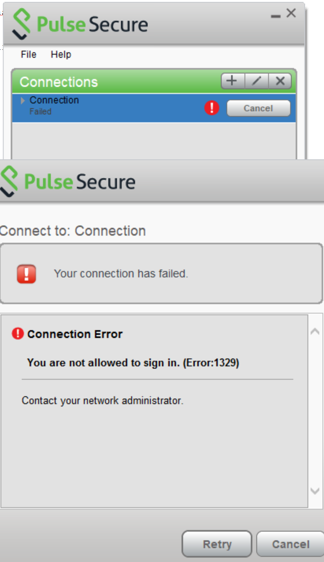 Error 1329 You are not allowed to sign in Pulse Secure