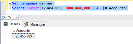 formatting with german language = point separators