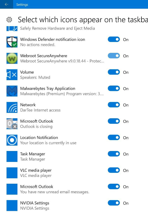 Task Bar icons