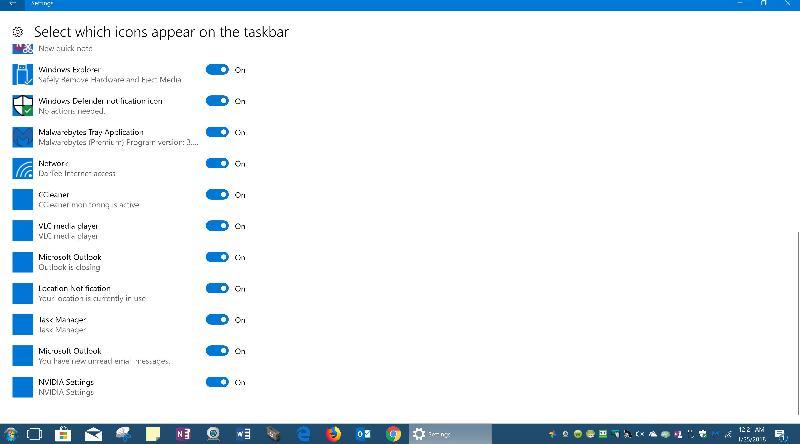 Taskbar setting
