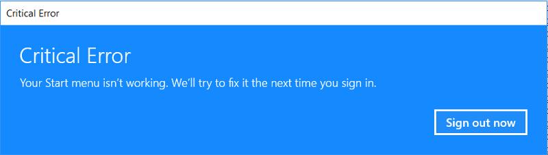 error when click start menu