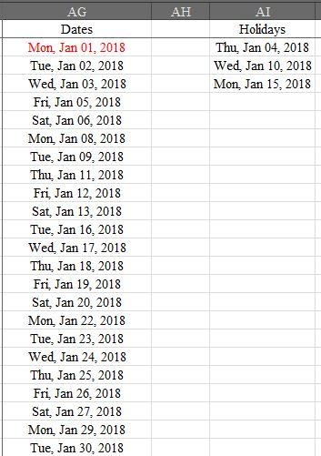 List Dates Exclude Sundays & Holidays