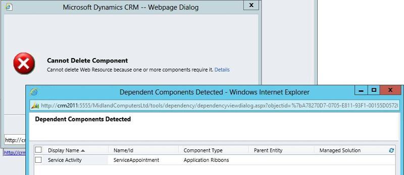 CRM dependency error