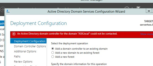 Trying to promote the win2012 to the current old domain controller getting an error