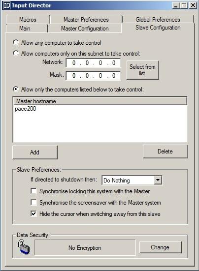 InputDirector Slave System Confg.