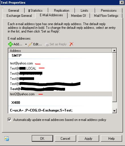 Sceen shot  of SMTP Addresses to be removed