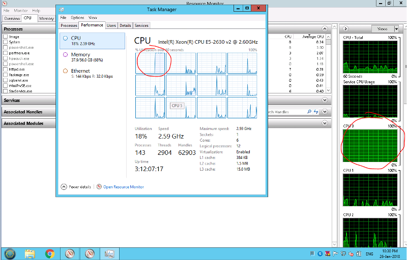 1 CPU thread at 100%