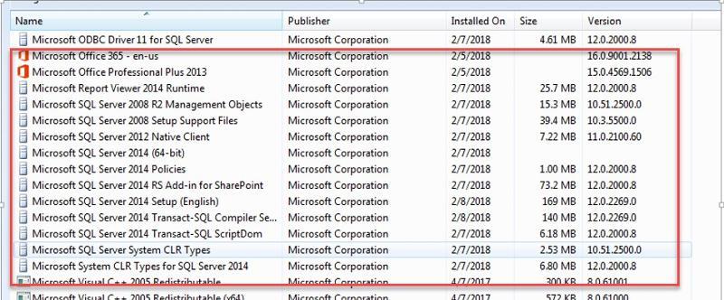 SQL Server items in 'Programs'