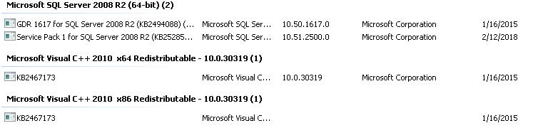 Screen shot of SQL TEST Server