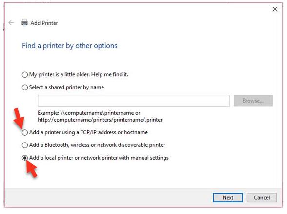 Add Printer options