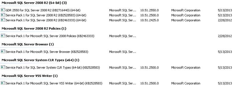 Screen shot of Production SQL Server
