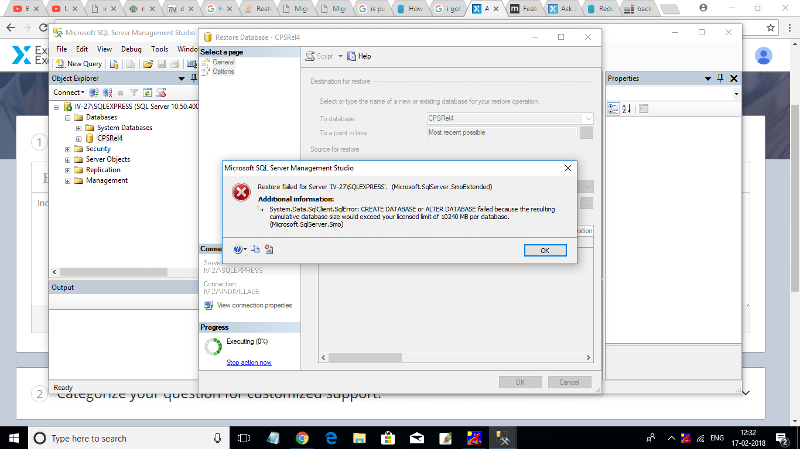This is the attachment of getting error , while restoring database with 1GB data