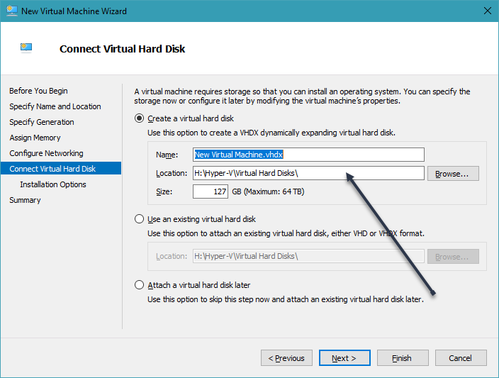 virtual Disk settings