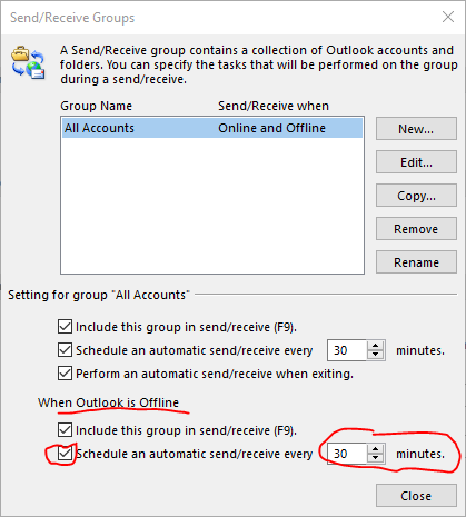 Send Receive Options when Outlook is not running.