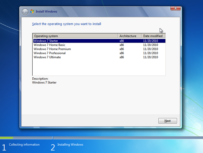 Windows 7 variants