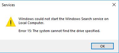 Error Message Starting Windows Search Service