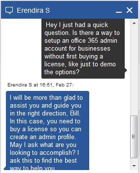 MS office 365 support chat screenshot