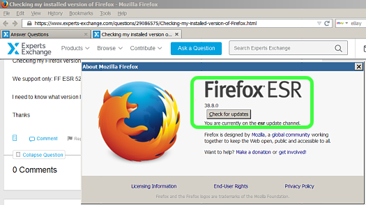 Checking my installed version of Firefox