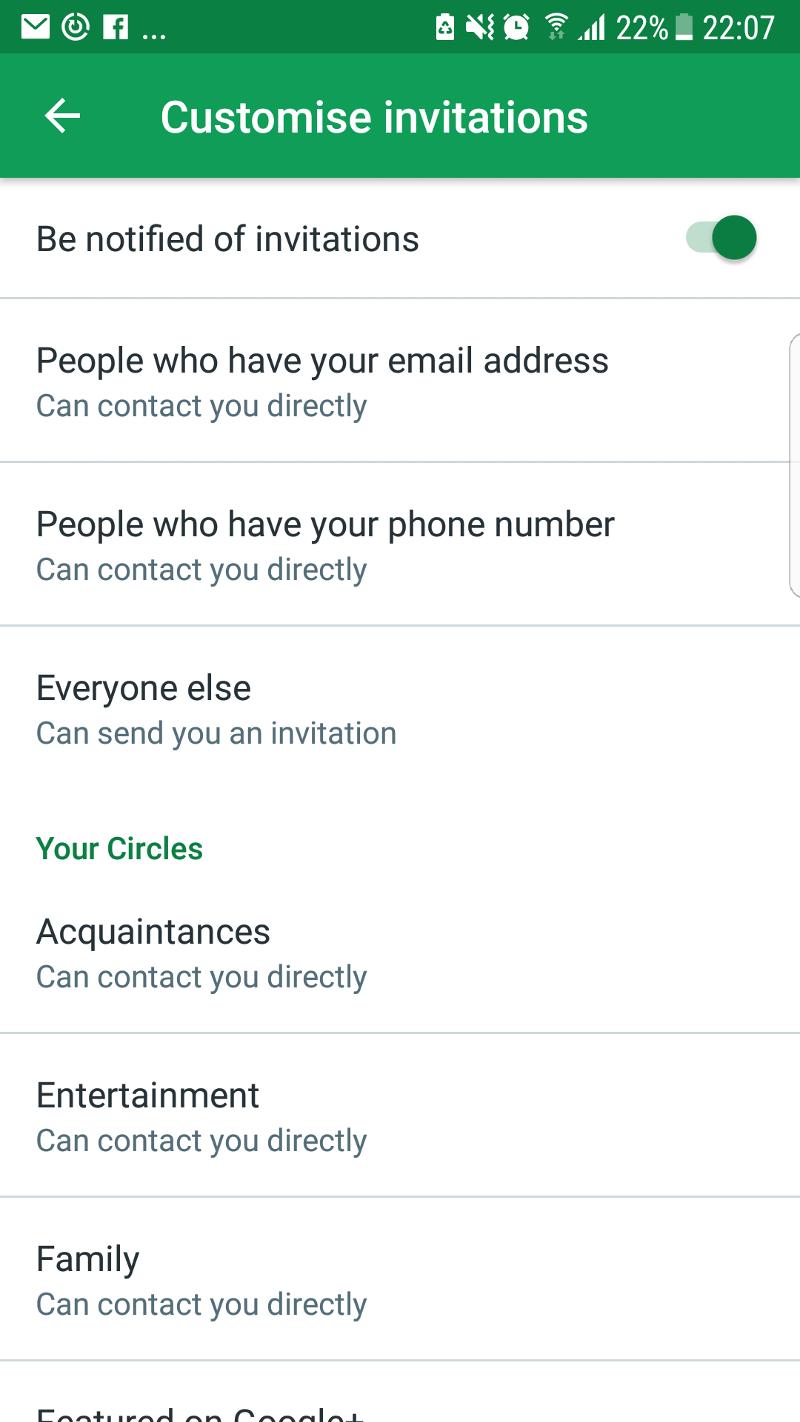 Customise invites