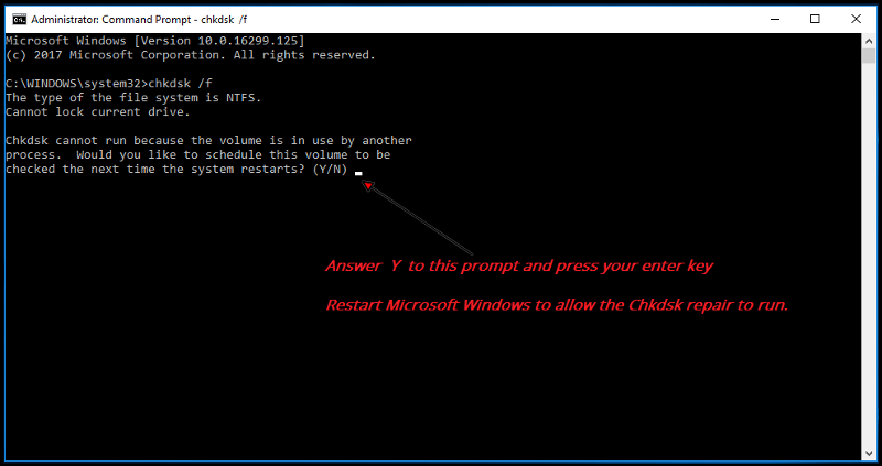 CHKDSK /F starting error