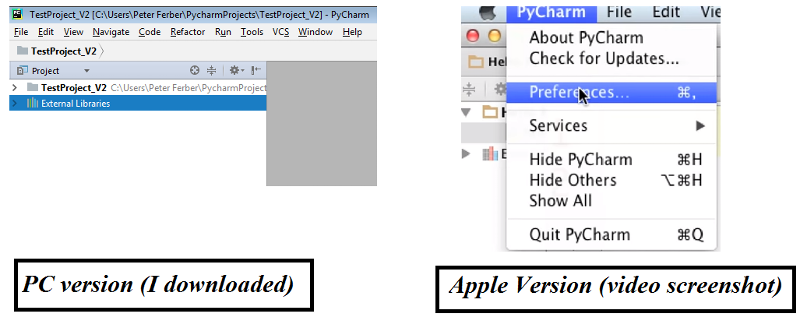 "Windows program does not reveal ""Preferences""."