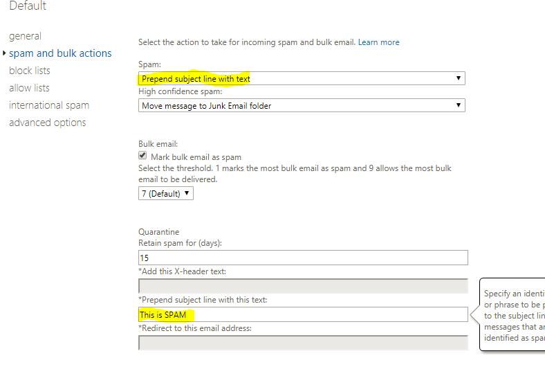 spam settings