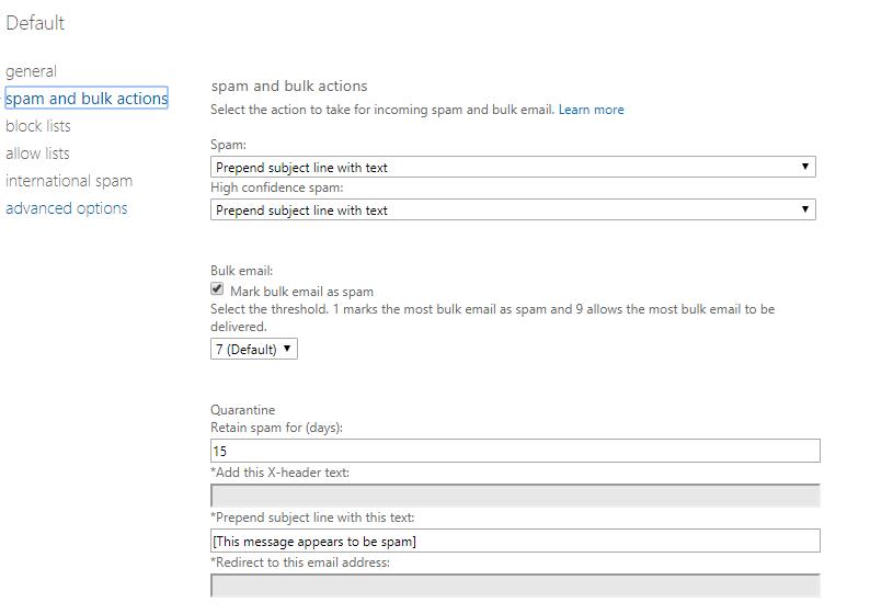 Screenshot EOP Spam and bulk actions