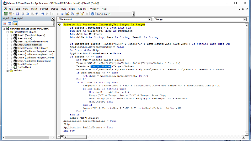 The highlighted part of the code