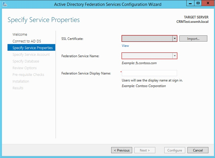 ADFS Configuration Wizard
