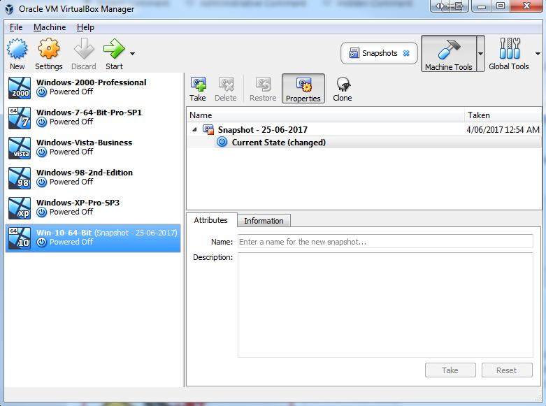 Oracle VirtualBox Manager Snapshot
