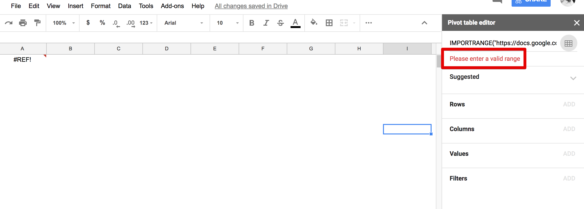 How to link to external data in Google Sheets pivot table