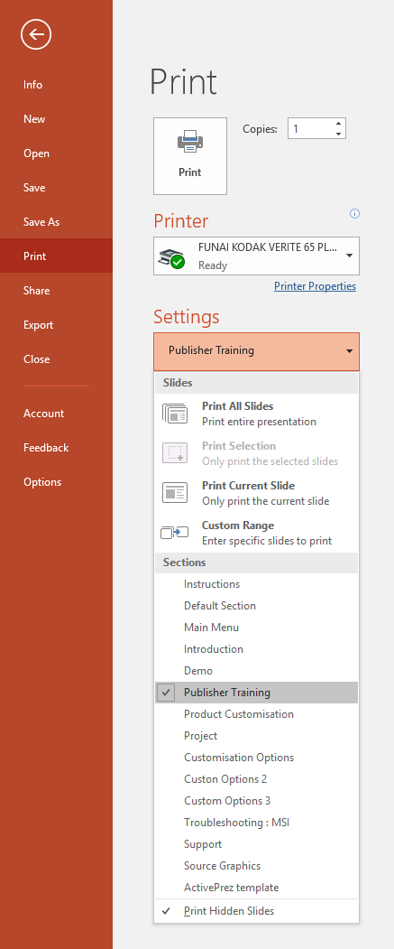 PowerPoint 2016 - Print - Sections