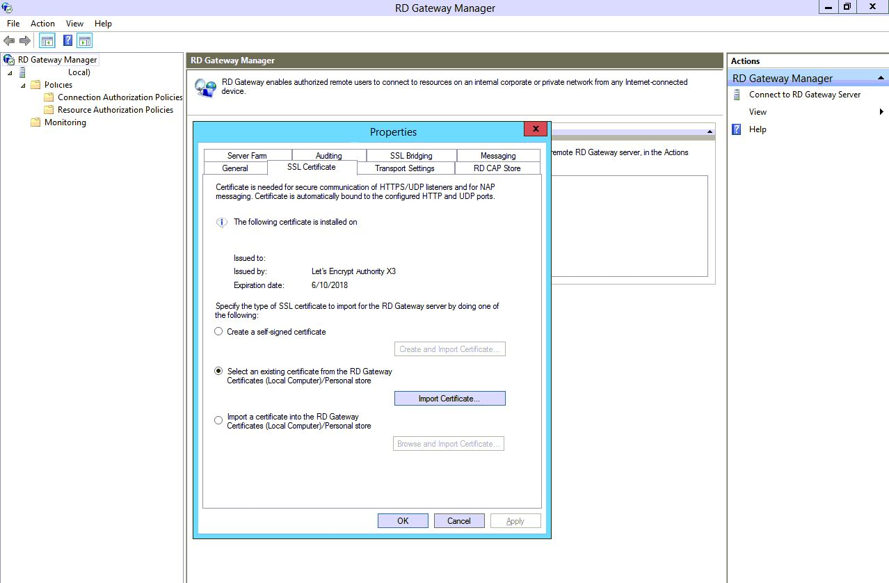 Certificate Gets Removed From Rds Gateway Every Time Server Reboots