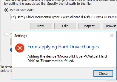 Error Attaching VHD file