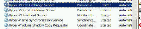 An example of the Hyper-V running services on the VM