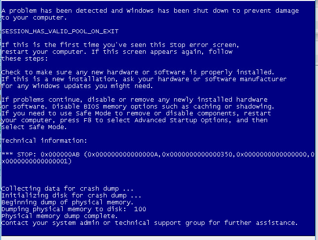 Blue screen before it restarts.