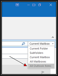 Search all Outlook Items Snapshot