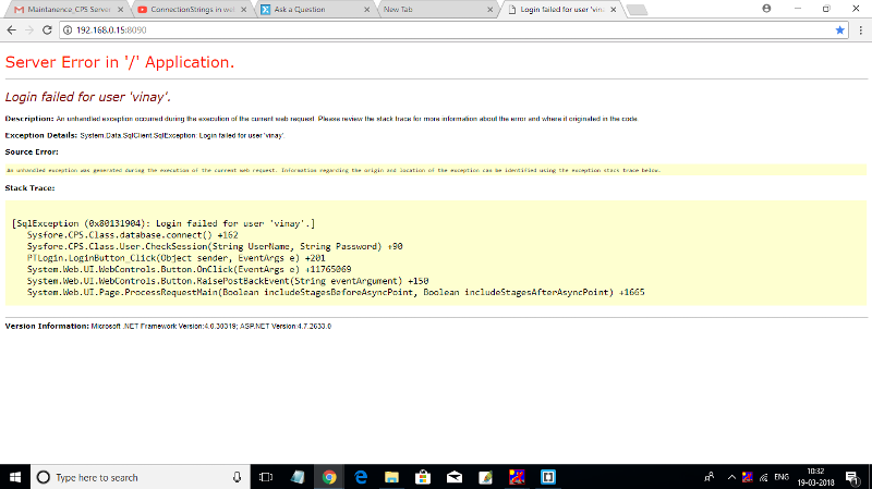 I got error while compiling .aspx file on browser with IP Address
