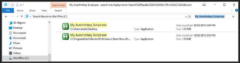 Search C Drive for My AutoHotkey Script.exe