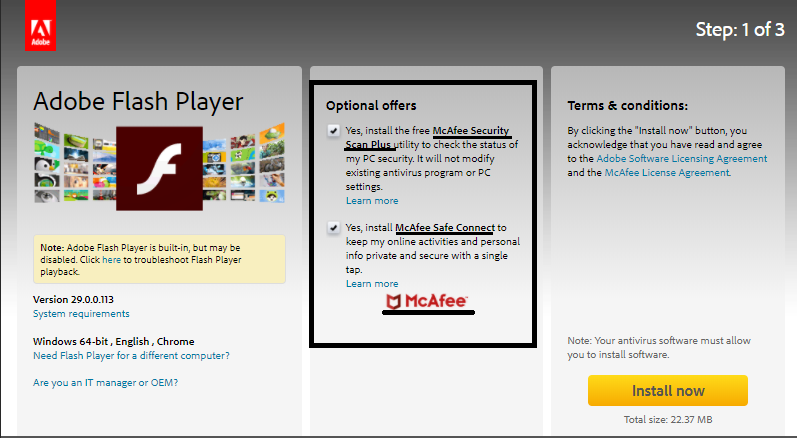 Adobe flash player advertisments