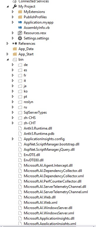Removing Extra References and Bin files from ASP NET Project