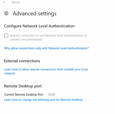 windows 10 PRO edition is not listening on port 3389 for RDP