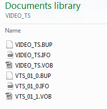 File structure of playable DVD