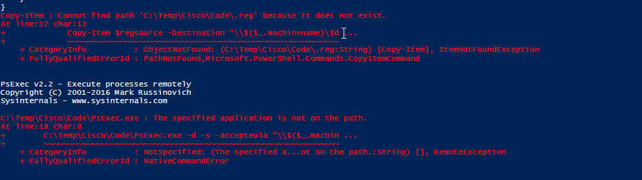Copy and run registry import via powershell from variables