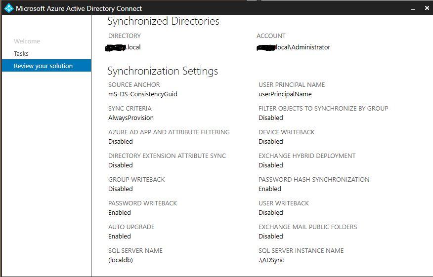 Azure writeback and password reset via ADUC