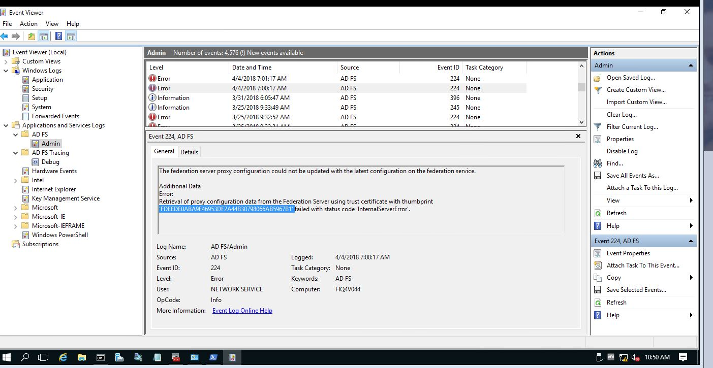 Certificate issue with Web Application Proxy and ADFS