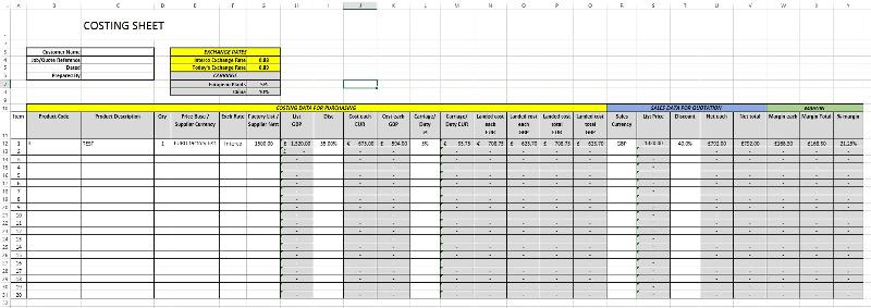 Costing sheet example
