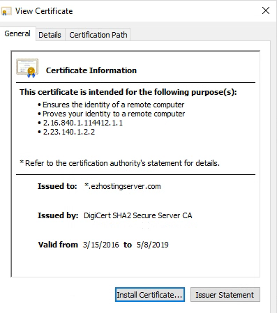 Certificate Error in Outlook